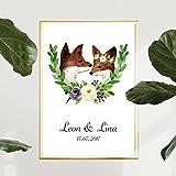Personalisiertes Bild Fuchs Blumenkranz Hochzeit mit oder ohne Bilderrahmen | Hochzeitsgeschenk Geschenkidee