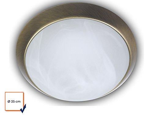 Plafonnier à LED Bol rond Ø 25 cm, verre albâtre avec un Bague décorative de plafond dans laiton antique, Belle lampe Vestibule LED avec fermeture à baïonnette