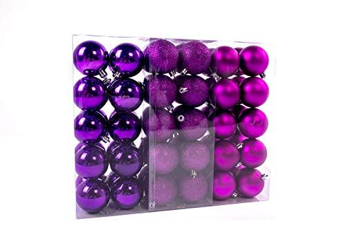 Lifestyle & more esclusive sfere per albero di natale set 61 pezzi in viola con solo sfere grandi 6 cm con punta a stella e pendenti abbinati