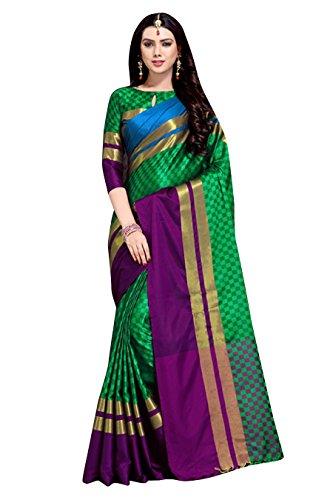 Art Décor Sarees Women's Bollywood Green Color PolyCotton Emblished Saree