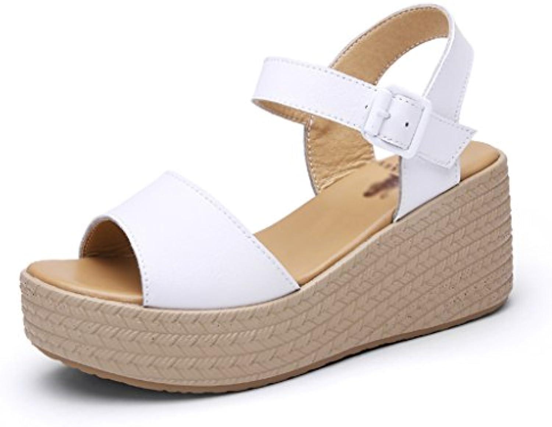 Sandalias para Mujer Zapatos de Cuero de Tacón Cuña Retro Hueco para Mujer Sandalias de Tacón Alto de Moda de...
