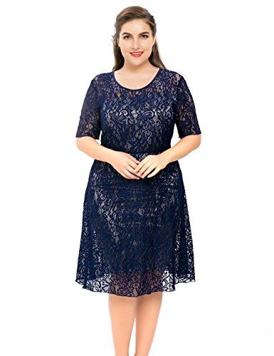 Chicwe Damen Strecken Blumen Spitze Große Größen Flare Kleid mit Schiefe Futter Top Marine Blau 4X (Rock Petite-denim A-linie)