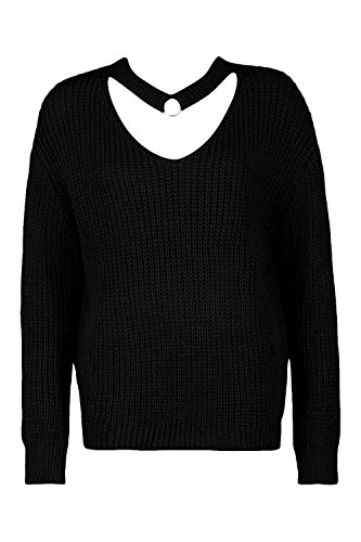Noir Femmes Frankie Ring Detail Chocker Jumper Noir