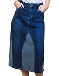 4c7046793ae My Christy Stretch Denim Panel Midi Skirt 2 Colour Denim Flared Jean Skirt  Tori