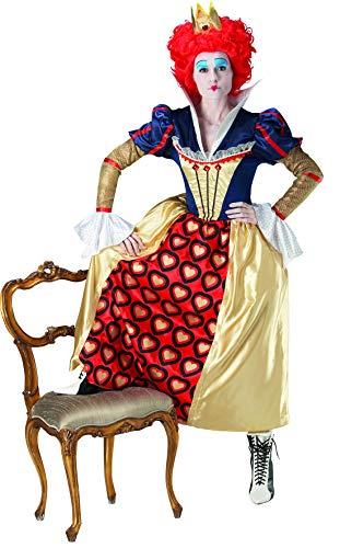 Fancy Ole - Damen Frauen Frauen opulentes rote Königin red Queen Kostüm im Alice im Wunderland STL incl Perücke, perfekt für Karneval, Fasching und Fastnacht, S, Mehrfarbig (Red Queen Kostüm Perücke)