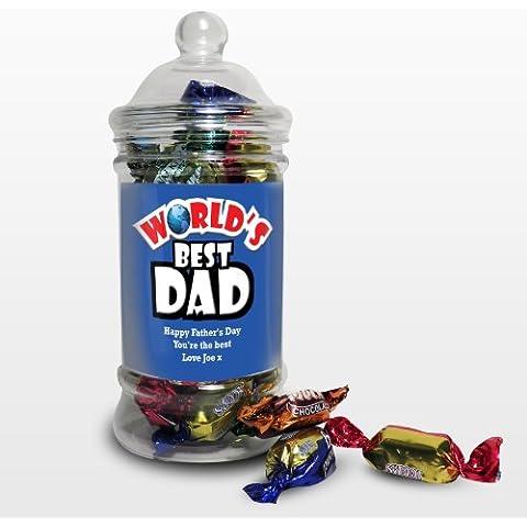 Azul Mejor del mundo Toffee tarro. Este es un gran producto Que Puede Ser personalizado a sus necesidades (véase principal discription Full detalles) ideal para regalos y regalos para bodas, bautizos, cumpleaños, Navidad,