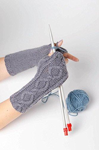 Mitones a crochet hechos a mano color gris accesorio de moda ropa femenina