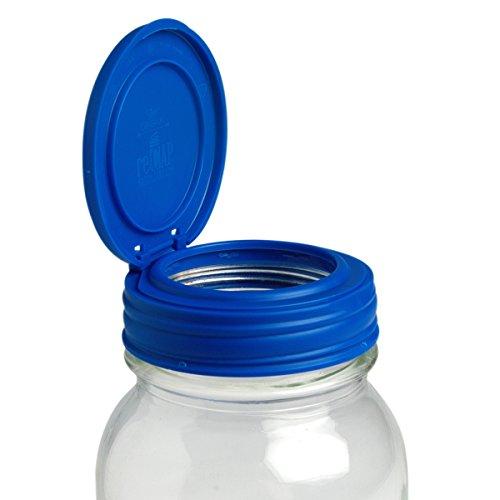 Zusammenfassung Mason Gläser Flip, Regular Mund, Canning Jar Deckel, silber Einzelbett blau