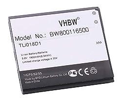 vhbw Li-Ion Akku 1800mAh (3.7V) für Handy Smartphone Telefon Alcatel One Touch Link Y858, Link Y858V, OT-5038, OT-5038A, OT-5038D, OT-5038E