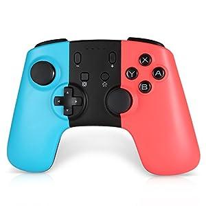Jevogh Wireless Switch Controller, GR71 Wirless Pro Game Controller für Nintendo Switch, Bluetooth Gamepad mit Doppelschlag und Gyro-Achse – Rot & Blau Dritteranbieter Produkt