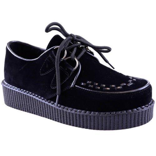 NUEVO DE MUJER Creeper Gótico Punk Plataforma Zapatos Con Cordones Medidas planas - Gamuza Negra, 36