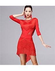 danse latine / Femme pratique de danse vêtements à franges robe / performances