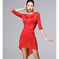 peiwen Mujer de Baile Latino con Flecos Vestido práctica de la Danza Ropa de 80c4793109a4