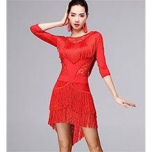 Mujer de baile latino con flecos vestido / práctica de la danza / ropa de escena