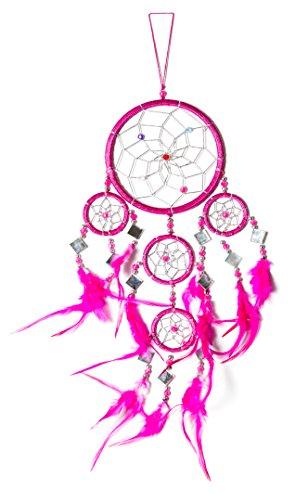 45cm x 11cm Dreamcatcher Traumfänger Spiegel Pink Glitzer Silber