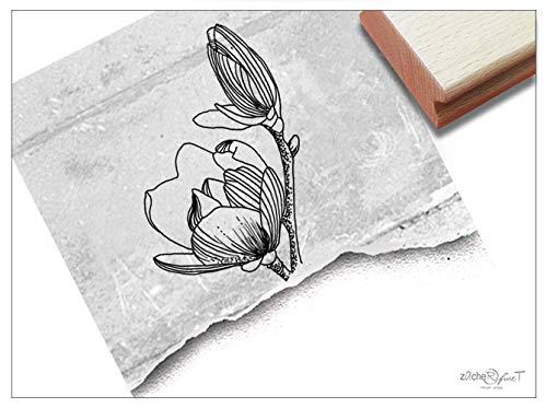 Stempel Blume Magnolie - Bildstempel Motivstempel für Karten Briefe Servietten Tischdeko Scrapbook Art-Journal Kunst Deko Geschenk - zAcheR-fineT -