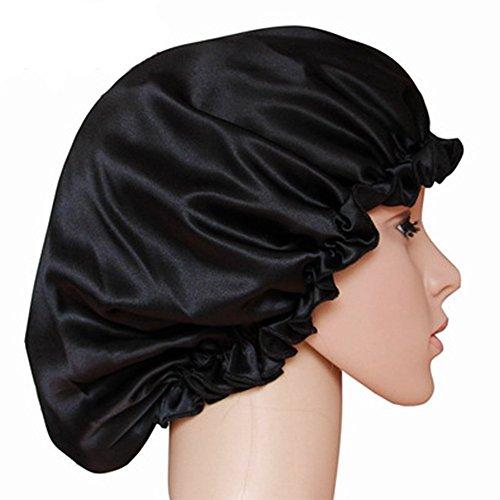 he Seide Nachtmütze Duschhaube Schlaf Night Cap Head Cover Motorhaube für Haar Beauty Duschhauben-Schwarz, M (Schwarz Bald Cap)