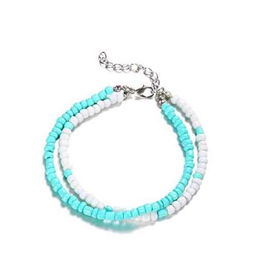 Simsly Fashion Perlen Armband Fußkettchen Foot Kette Zubehör Schmuck für Frauen und Mädchen (Blau) jl-113 - Armband Türkis-perlen Mit