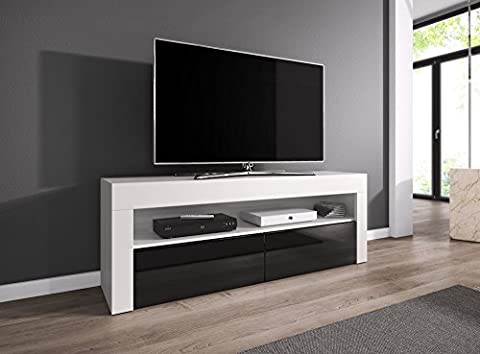 Meuble TV Armoire Meuble TV divertissement Meuble Bas Luna 140 cm, corps blanc mat/Fronts Noir brillant, Bois dense, Without LED, 140 cm