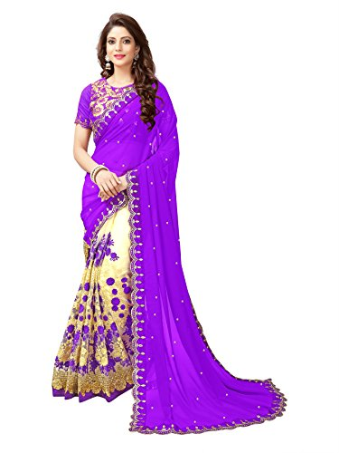 Koroshni Women's Georgette Embroidery Hlaf And Half Purple Coloured Saree With Blouse...