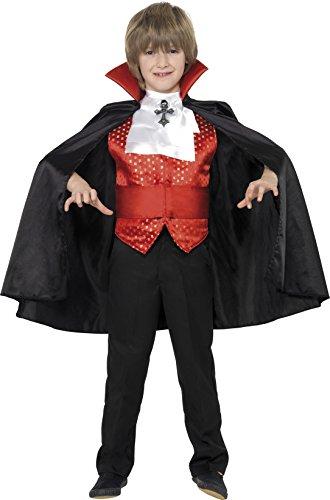 Smiffys, Kinder Jungen Dracula Kostüm, Umhang, Kummerbund, Krawatte und Weste, Größe: M, (Jahre Alten Ideen Halloween 9 Jungen Kostüm)