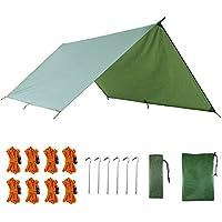 AUTFIT Hamaca tienda de campaña, 3 m x 3 m, portátil, ligera, impermeable, lona de lluvia, lona verde militar, refugio para camping, senderismo, mochila