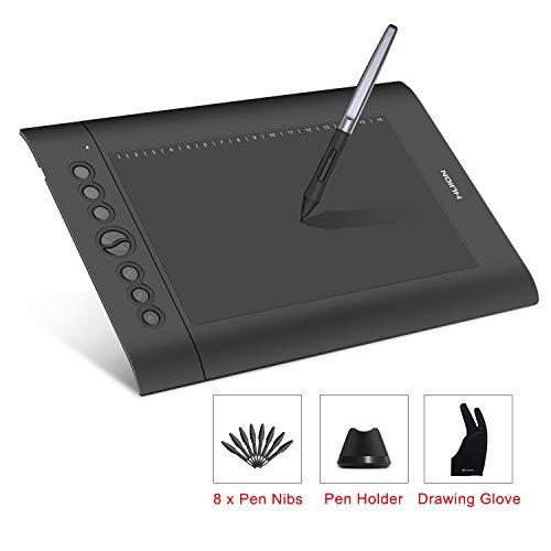 HUION H610 Pro V2 Grafiktablett Neigungsunterstützung Batterieloser Stift mit 8192 Pen Druckempfindlichkeit und 8 Hot Keys für Windows und Mac Digitale Zeichnung