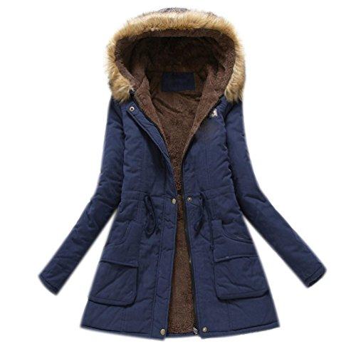 Minetom Damen Winterantel Wattierter Parka Coat mit Pelzkapuze Winterparka Warme Lang Winter Mäntel Outdoorjacke Outwear Marine DE 44