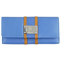 Kara Blue and Yellow Color Leather Wallet For Women