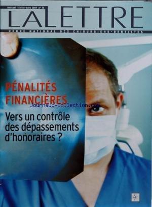 LETTRE DES CHIRURGIENS DENTISTE (LA) [No 75] du 28/02/2009