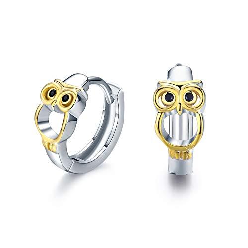 Eule Ohrringe für Mädchen, 925 Sterling Silber Creolen Ohrringe Kleine Creolen Kreis Ohrringe Schmuck für Damen Muttertagsgesche Hochzeits Jubiläums Geschenke für Mädchen Mama Frauen -