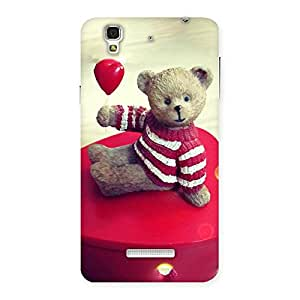 Impressive Red Heart Teddy Back Case Cover for YU Yureka Plus