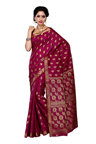 Mimosa Women'S Tussar Silk Saree With Blouse,Color:Mejantha(3186-103-TUS-MEJ)