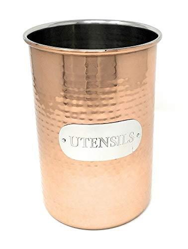 Metal de cobre martillado Cocina lata de almacenaje, recipiente de almacenamiento de alimentos, Utensil...
