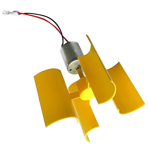 MagiDeal Mini Elektro Wind Turbine Motor Generator Generatoren LED Klinge Lehrmittel für Kinder (Wind Kit Turbine)