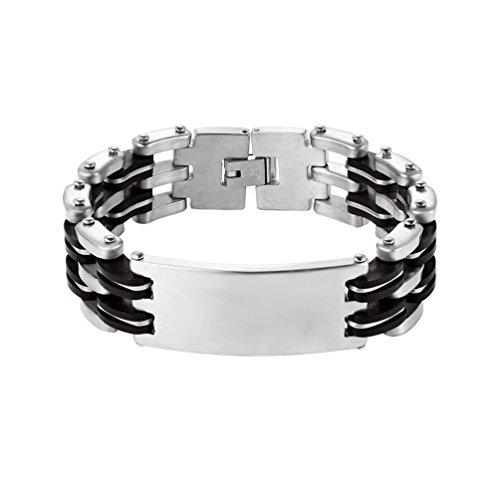 PROSTEEL Herren Armband, 18 mm breit Fashion Edelstahl Link Handgelenk Motorrad Biker Kette Manschette Armreif Armkette Armschmuck 19CM, Silber