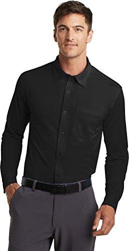 Port Authority Herren Button-down Langarmshirt schwarz - schwarz
