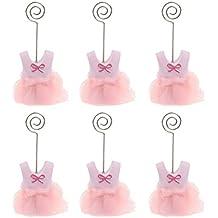 PIXNOR Coloque la tarjeta nombre tabla Memo porta pinzas para Baby fiesta Pack de 6 (ropa rosa)