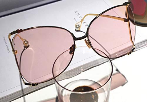 MJXVC Sonnenbrille Persönlichkeit Perle Sonnenbrille normales Gesicht kleine kleine Rahmen Brillengestell weibliche Flut
