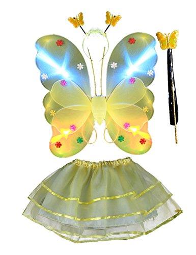 Kostüm Weihnachten Elfen Mädchen - THEE 4pcs LED Leuchtend Schmetterling Flügel Mädchen Kostüm Prinzessin Elfe Flügel mit Zauberstab für Party Karneval Fasching Fastnacht Halloween Kinder Kostüm