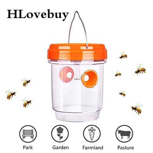 H.Yue Solar Powered Wasp Trap with Ultraviolet LED Light Wasp Trap Catcher Killer Waterproof for Hornets Bees Yellow Jackets Bugs (Orange) -