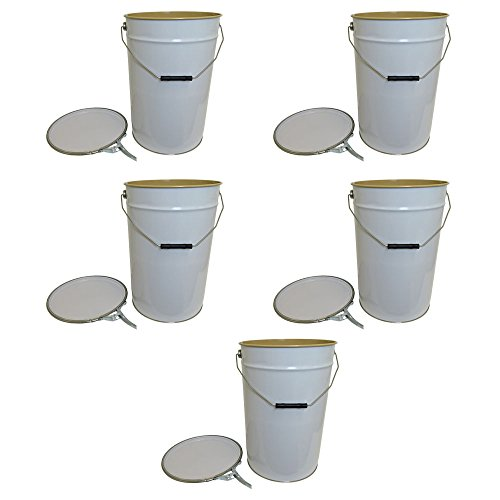 20 Litre Ltr L White TinplateВMetal Bucket with Lid and Ring Latch Lacquered Interior for Storage Water Based Products DIY Garden Test