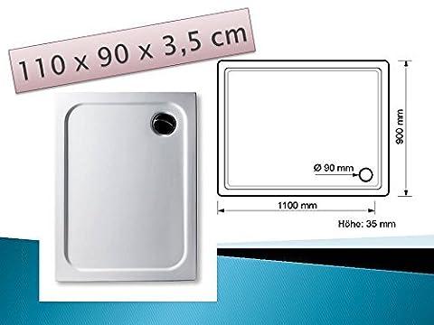 Douche 80 X 90 - Receveur En Acrylique Blanc 110x 90cm Plats