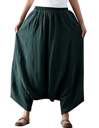 Youlee Donna Vita Elastica Gamba Larga Harem Pantaloni Verde