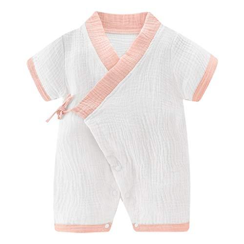 Livoral Baby Madchen Hairband Neugeborene Baby Boy Girl Garn Robe Kimono Strampler Overall Nachtwäsche Kleidung(Rosa,73)