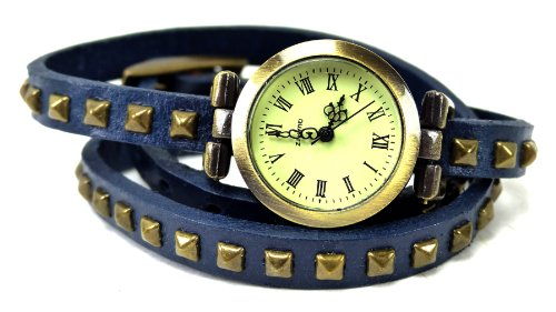 Wickelarmbanduhr Wickel Armband Uhr Leder blau mit Nieten U6-X