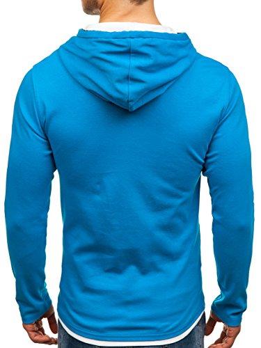 BOLF Herren Kapuzenpullover Sweatshirt Langarmshirt Pulli Hoodie Basic 1A1 Hellblau_03