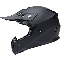 YEMA Casco Motocross Eduro ECE Homologado YM-915 Casco de Moto Cross Integral para Mujer Hombre Adultos-Negro-L