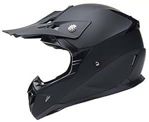 YEMA Casco Motocross Integrale Motard Downhill YM-915 Caschi Moto Cross Integrali DH ECE Omologato Donna Uomo, Nero Opaco, S