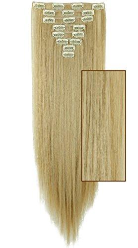 Extension bionde capelli sintetici con clilp lunghi lisci 58cm 8 piece full head kit straight estensioni effetto naturale